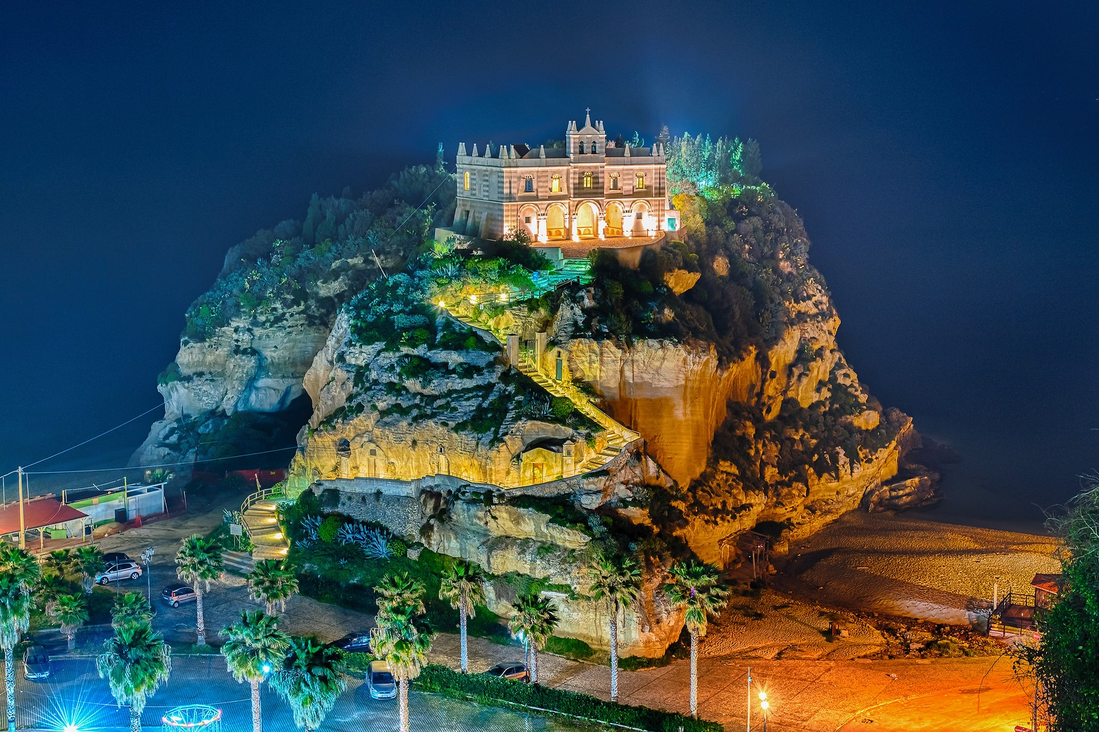 Church Of Santa Maria Dell'isola At Night, Tropea, Italy